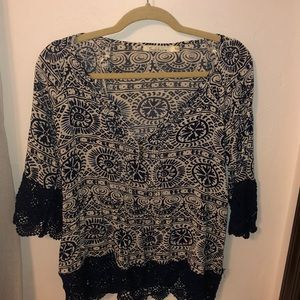 Patterned peasant blouse